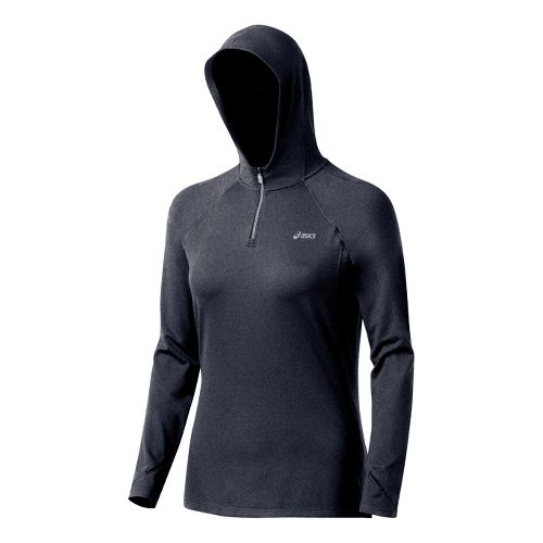 Womens ASICS Thermopolis LT Hoody Long Sleeve 1/2 Zip Technical Tops - Heather Iron XL ...