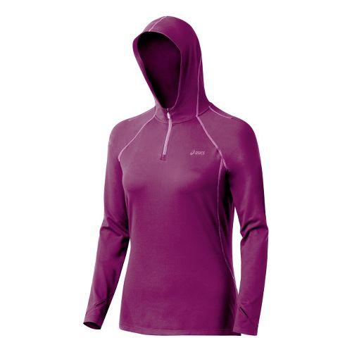 Womens ASICS Thermopolis LT Hoody Long Sleeve 1/2 Zip Technical Tops - Magenta/Mullberry L