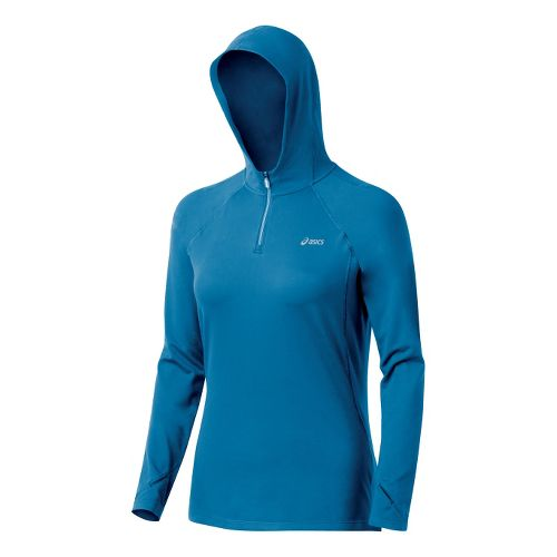 Womens ASICS Thermopolis LT Hoody Long Sleeve 1/2 Zip Technical Tops - Peacock M