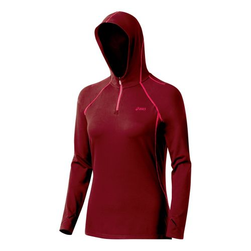 Womens ASICS Thermopolis LT Hoody Long Sleeve 1/2 Zip Technical Tops - Rumba/Watermelon S