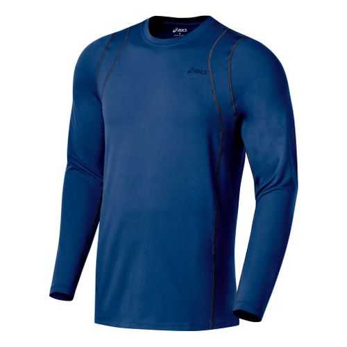 Mens ASICS Thermopolis LT Crew Long Sleeve No Zip Technical Tops - Estate/Iron S