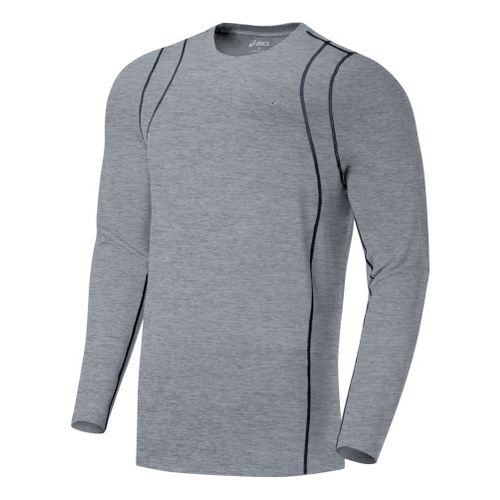 Mens ASICS Thermopolis LT Crew Long Sleeve No Zip Technical Tops - Heather Grey/Iron L ...