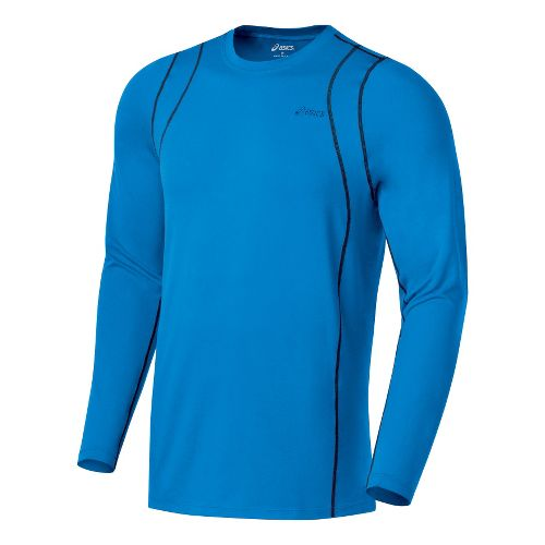 Mens ASICS Thermopolis LT Crew Long Sleeve No Zip Technical Tops - Pacific Blue/Midnight L ...