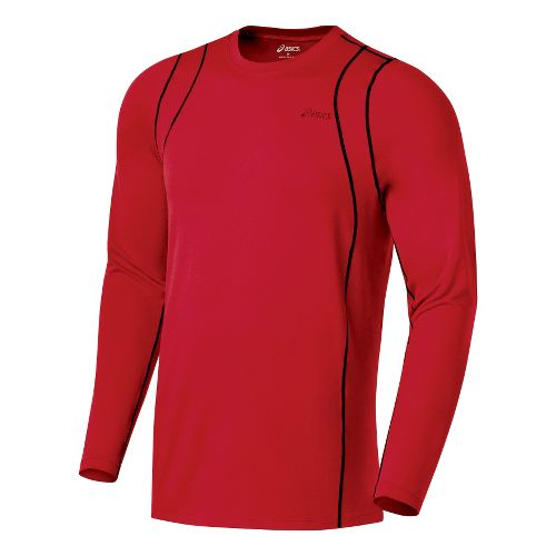 Mens ASICS Thermopolis LT Crew Long Sleeve No Zip Technical Tops - Sport Red/Black M ...
