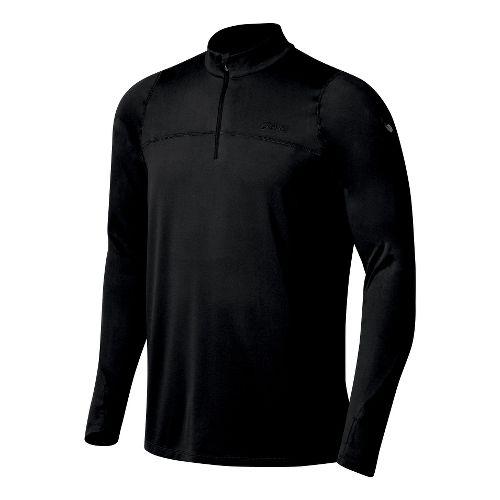 Mens ASICS Thermopolis LT 1/2 Zip Long Sleeve Technical Tops - Black/Black XL
