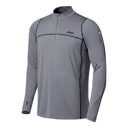 Mens ASICS Thermopolis LT 1/2 Zip Long Sleeve Technical Tops - Frost/Iron L