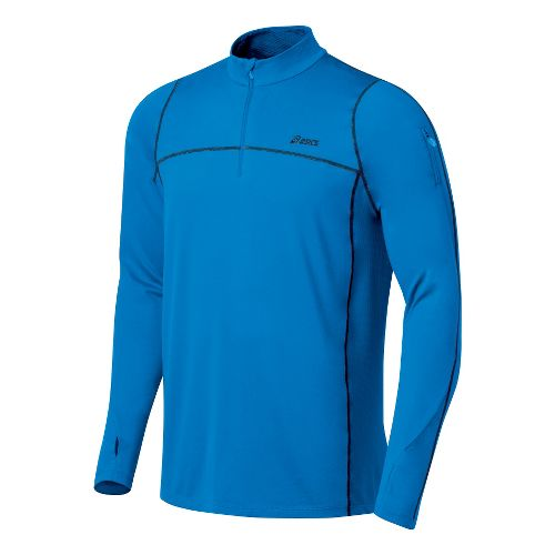 Mens ASICS Thermopolis LT 1/2 Zip Long Sleeve Technical Tops - Pacific Blue/Midnight S