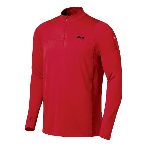 Mens ASICS Thermopolis LT 1/2 Zip Long Sleeve Technical Tops - Sport Red/Sport Red S ...
