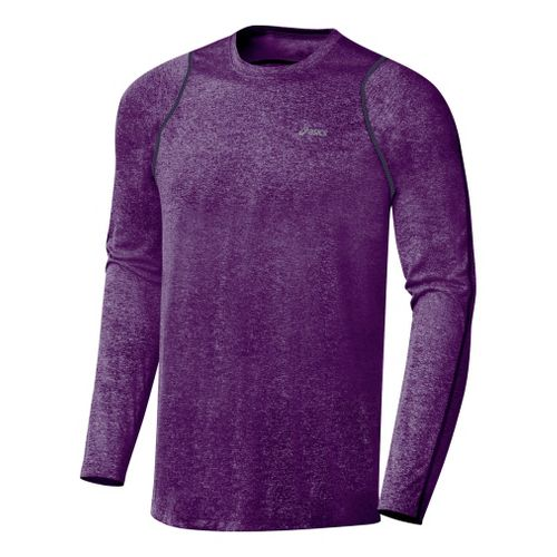 Mens ASICS Everyday Long Sleeve Long Sleeve No Zip Technical Tops - Grape M