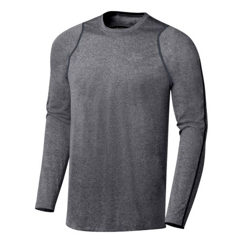 Mens ASICS Everyday Long Sleeve Long Sleeve No Zip Technical Tops - Heather Iron S ...