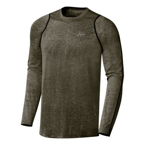 Mens ASICS Everyday Long Sleeve Long Sleeve No Zip Technical Tops - Tarmac M