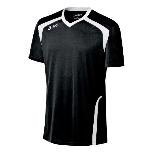 Mens ASICS Ace Jersey Short Sleeve Technical Tops - Black/White M