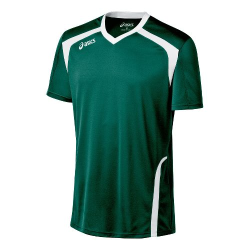 Mens ASICS Ace Jersey Short Sleeve Technical Tops - Forest/White S