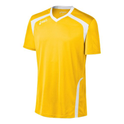 Mens ASICS Ace Jersey Short Sleeve Technical Tops - Gold/White XL