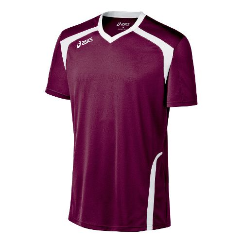 Mens ASICS Ace Jersey Short Sleeve Technical Tops - Maroon/White XL