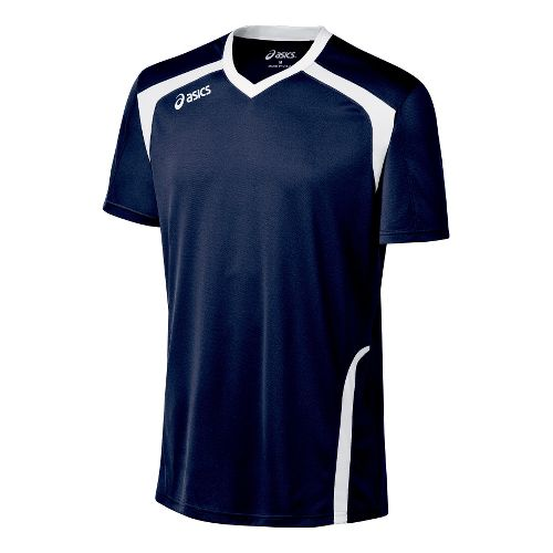 Mens ASICS Ace Jersey Short Sleeve Technical Tops - Navy/White M