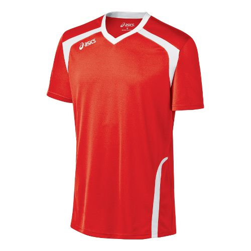 Mens ASICS Ace Jersey Short Sleeve Technical Tops - Red/White XL