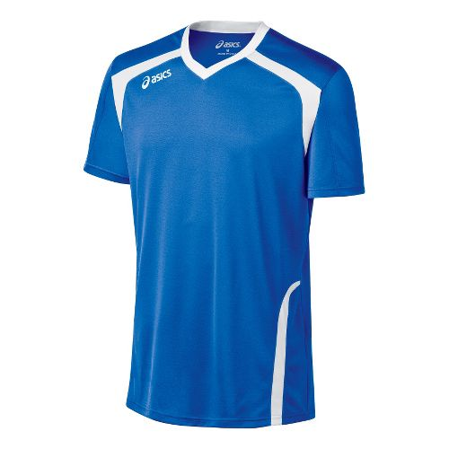 Mens ASICS Ace Jersey Short Sleeve Technical Tops - Royal/White L