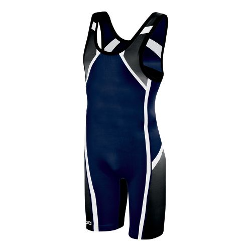 Mens ASICS Conquest Wrestling Singlet UniSuits - Navy XXL