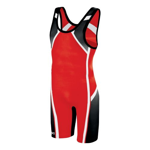 Mens ASICS Conquest Wrestling Singlet UniSuits - Red S
