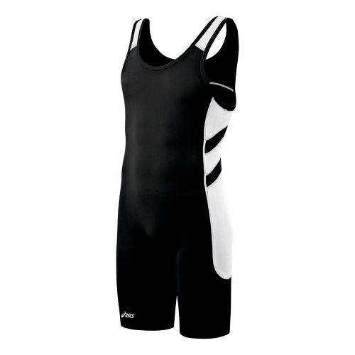 Mens ASICS Unrestrained Wrestling Singlet UniSuits - Black/White XS