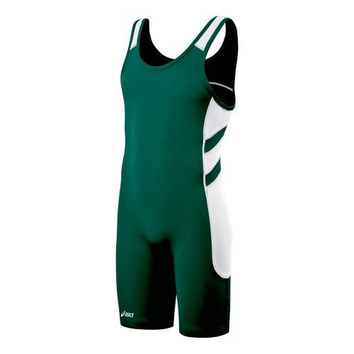 Mens ASICS Unrestrained Wrestling Singlet UniSuits - Forest/Black XXS