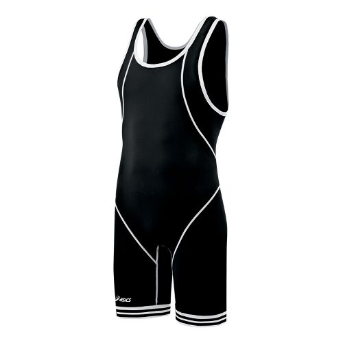 Mens ASICS Snap Down Wrestling Singlet UniSuits - Black/White XL