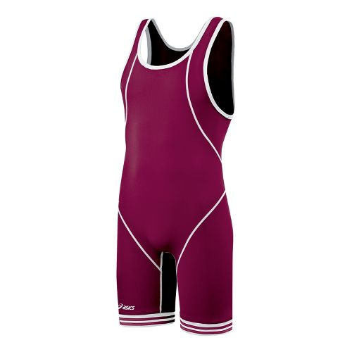 Mens ASICS Snap Down Wrestling Singlet UniSuits - Cardinal/White L