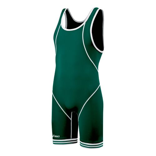 Mens ASICS Snap Down Wrestling Singlet UniSuits - Forest/White XL