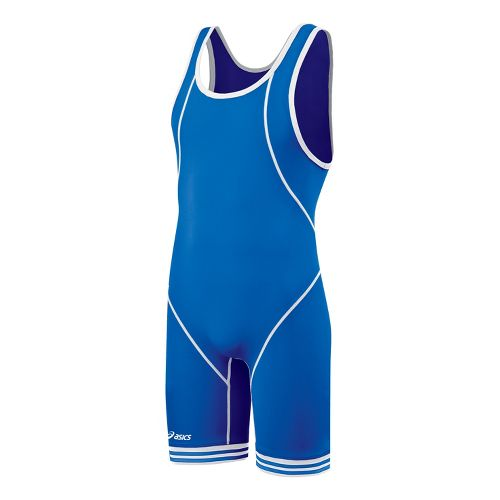 Mens ASICS Snap Down Wrestling Singlet UniSuits - Royal/White XS
