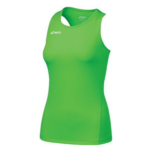 Womens ASICS Circuit-7 Singlet Long Sleeve No Zip Technical Tops - Neon Green M