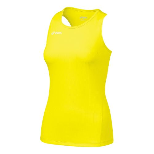 Womens ASICS Circuit-7 Singlet Long Sleeve No Zip Technical Tops - Neon XS