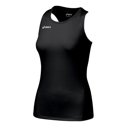 Womens ASICS Circuit-7 Singlet No Zip Technical Tops - Black M
