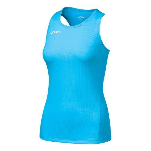 Womens ASICS Circuit-7 Singlet No Zip Technical Tops - Cyan Blue L