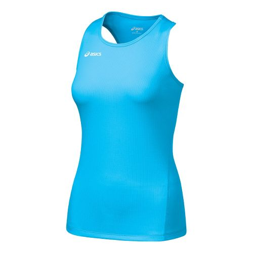 Womens ASICS Circuit-7 Singlet Long Sleeve No Zip Technical Tops - Cyan Blue S