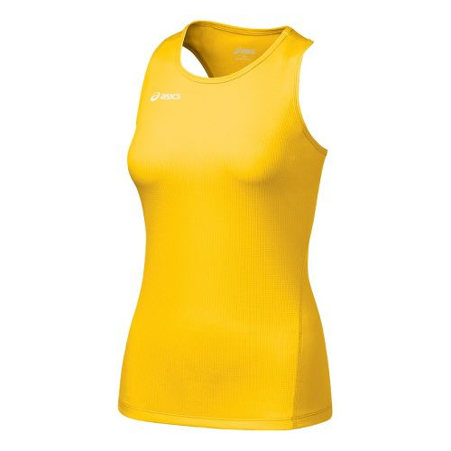 Womens ASICS Circuit-7 Singlet No Zip Technical Tops - Gold L