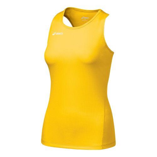 Womens ASICS Circuit-7 Singlet Long Sleeve No Zip Technical Tops - Gold S