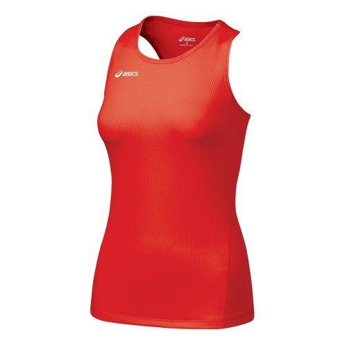 Womens ASICS Circuit-7 Singlet Long Sleeve No Zip Technical Tops - Red XL