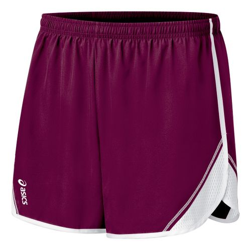 Womens ASICS Team Split Short - Maroon/White XS