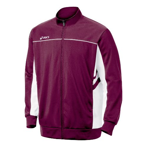 Mens ASICS Cabrillo Running Jackets - Maroon/White M