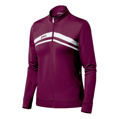 Womens ASICS Cabrillo Running Jackets - Maroon/White L
