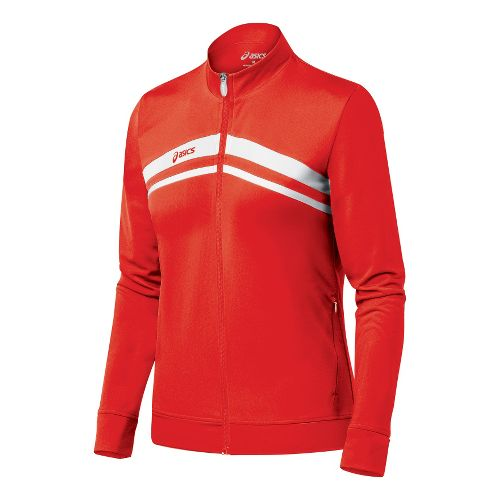 Womens ASICS Cabrillo Running Jackets - Red/White M