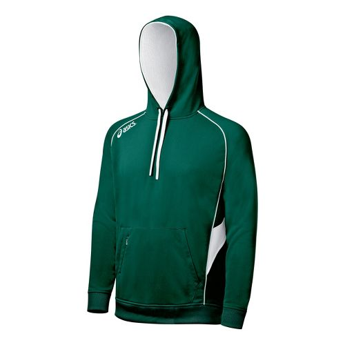 ASICS Team Hoody Long Sleeve No Zip Technical Tops - Forest/White XL