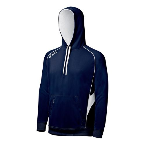ASICS Team Hoody Long Sleeve No Zip Technical Tops - Navy/White XS