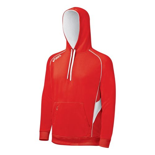 ASICS Team Hoody Long Sleeve No Zip Technical Tops - Red/White XL