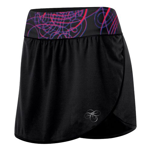 Womens ASICS AYAMi Skort Fitness Skirts - Black/Swirl Print M