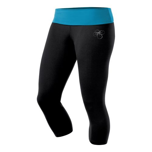 Womens ASICS AYAMi Fitted Capri Capri Tights - Black/Lapis XS