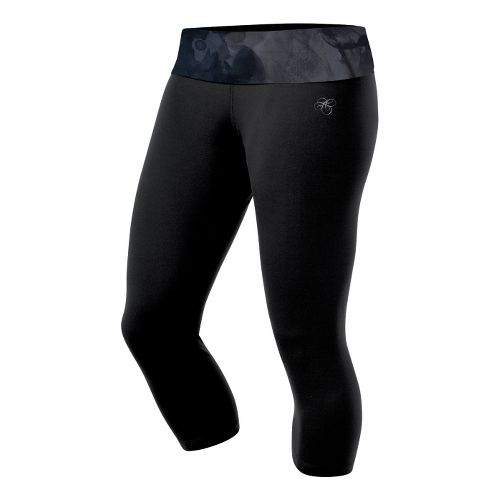 Womens ASICS AYAMi Fitted Capri Capri Tights - Black Watersplash L