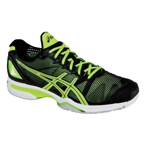 Mens ASICS GEL-Solution Speed Court Shoe - Black/Flash Yellow 12.5