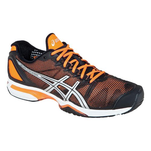 Mens ASICS GEL-Solution Speed Court Shoe - Black/Neon Orange 10